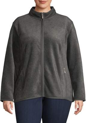 Karen Scott Plus Mockneck Front-Zip Jacket