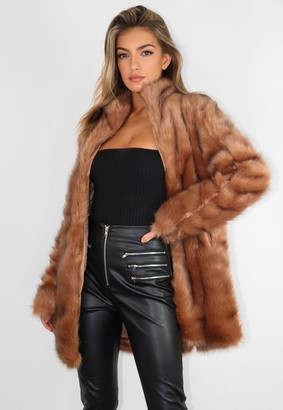 Missguided Tall Premium Brown Pelted Faux Fur Coat