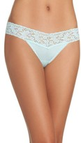 Hanky Panky Women's Mid Rise Modal Thong With Lace Trim
