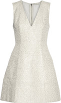 Alice + Olivia Pacey metallic cotton-blend tweed mini dress