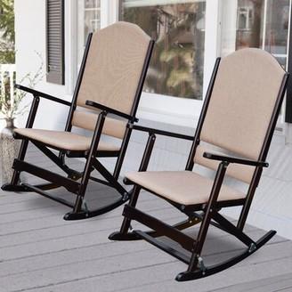 Wildon Home Cedar Creek Solid Wood Folding Rocking Chairs Frame Color: Espresso