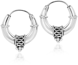 Aeravida Chunky Balinese Style Sterling Silver Hoop Earrings