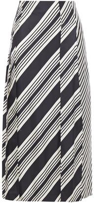 Joseph Carey Paneled Pleated Striped Silk-twill Midi Skirt