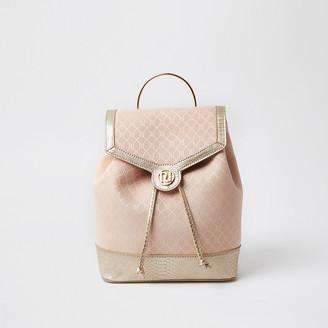 River Island Girls pink metallic monogram rucksack