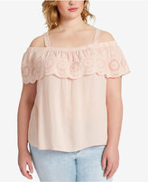 Jessica Simpson Trendy Plus Size Eyelet Off-The-Shoulder Top