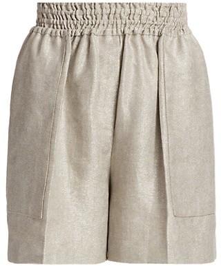 Brunello Cucinelli Elastic Metallic Linen Shorts