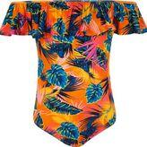 River Island Girls Orange tropical ruffle bardot bodysuit