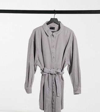 ASOS DESIGN Curve denim oversized belted shirt dress in washed lavender