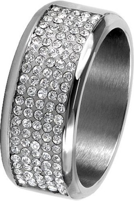 Jacques Lemans Jewellery S-R10B58 Ladies' Ring Stainless Steel Swarovski Crystal White Size 58 / R