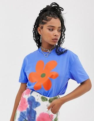 Vans X Ines oversized flower t-shirt in blue
