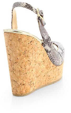 Jimmy Choo Prova Snakeskin Slingback Wedge Sandals