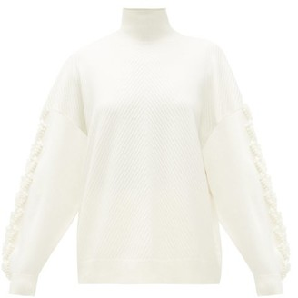 Barrie Loop-trim Ribbed-cashmere Sweater - Womens - White