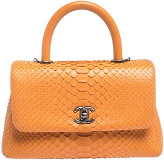 Chanel Orange Python Mini Coco Top Handle Bag