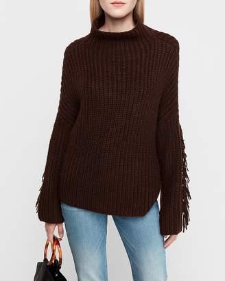 Express Mock Neck Fringe Sleeve Pullover Sweater