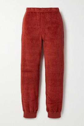 SUZIE KONDI Stretch Cotton-blend Velour Track Pants - Red