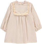 Babe & Tess Fringed Plastron Stripe Dress