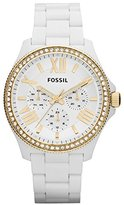 Fossil Women's Cecile AM4493 White Resin Quartz Watch with Dial