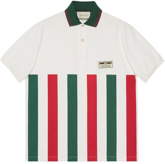 Gucci Web-striped oversize polo shirt