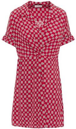 Sandro Pleated Printed Silk Crepe De Chine Mini Shirt Dress