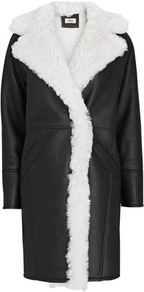 Yves Salomon Shearling-Trimmed Leather Coat