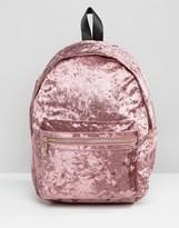Missguided Crushed Velvet Backpack