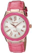 Invicta Women's 'Angel' Quartz Stainless Steel and Leather Casual Watch, Color:Pink (Model: 22537)