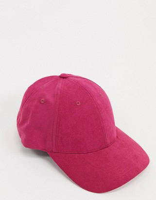 ASOS DESIGN baseball cap in pink soft touch fabric