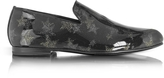 Jimmy Choo Sloane Black and Gold Glitter Patent Leather Loafer w/Star
