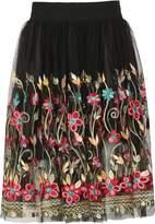 Izabel London Flared Folk Embroidered Skirt