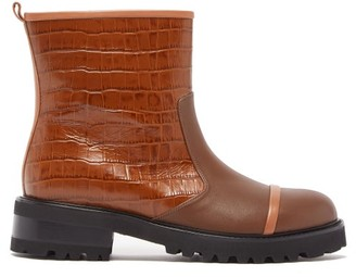 Malone Souliers Bibi Crocodile-effect Leather Boots - Tan
