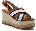 Classic Women's Strap Wedge Sandals-White/Navy