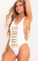 PrettyLittleThing Black Bride Squad Swimsuit