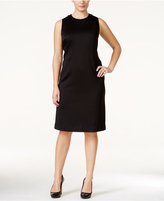 Calvin Klein Plus Size Mesh-Inset Knitted Sheath Dress