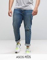 Asos PLUS Skinny Jeans In Mid Wash Blue