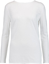 DKNY Slub cotton and modal-blend jersey and voile top