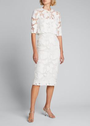 Monique Lhuillier Lace Sleeveless Midi Dress