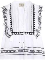 Sea Ruffled Crochet-trimmed Cotton-voile Blouse - White