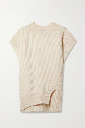 Stella McCartney - + Net Sustain Ribbed Recycled Cashmere And Wool-blend Sweater - Ecru