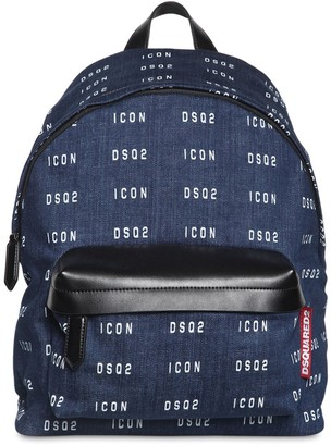 DSQUARED2 Allover Logo Print Denim Backpack