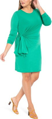 ELOQUII Tie Front Long Sleeve Dress