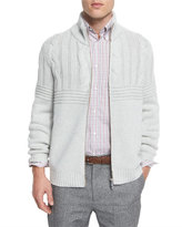 Brunello Cucinelli Cashmere Cable-Knit Front-Zip Cardigan, Fog