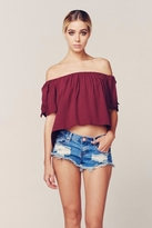 Blue Life Sangria Off Shoulder Top in Bordeaux