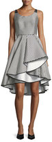 Halston Scoop-Neck Striped Cocktail Dress w/ Dramatic Skirt