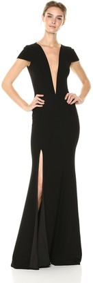 Dress the Population Women's Leah Plunging Illusion Cap Sleeve Crepe Gown with Slit Dress