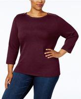 Karen Scott Plus Size Cotton Zip-Shoulder Sweater, Created for Macy's