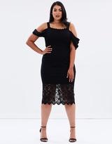 Drape Shoulder Pencil Dress