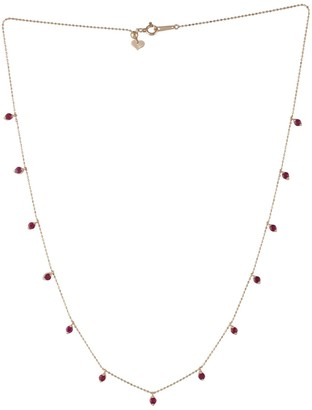 Artisan 18Kt Solid Rose Gold Ruby Bead Choke Necklace