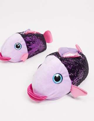 Loungeable sequin fish slippers in pink