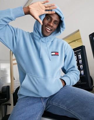 Tommy Jeans polar fleece badge logo hoodie in vintage blue denim