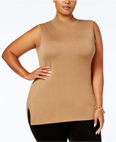 JM Collection Plus Size Mock-Neck Sleeveless Sweater, Created for Macy's